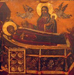 Икона Успения Пресвятой Богородицы с мощевиком
