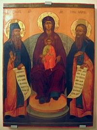 Икона Богоматери с предстоящими прпп. Зосимой и Савватием Соловецкими