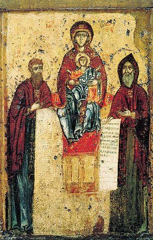 Свенская Печерская икона Божией Матери с преподобными Антонием и Феодосием
