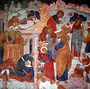 Смерть Анании и Сапфиры. Фреска Троицкого собора в Ипатьевском монастыре . 1685 г.