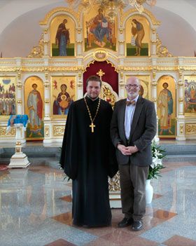Dr. Anthony Clark & Father Sergiy Veronin in the Russian Orthodox church.