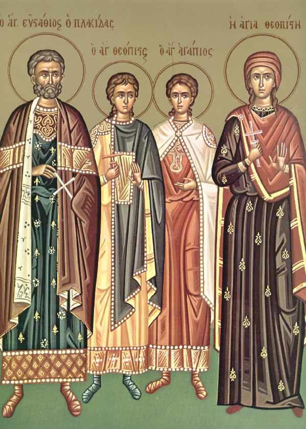 Картинки по запросу Великомученик Евстафий Плакида, жена его  мученица Феопистия и чада их мученики Агапий и Феопист