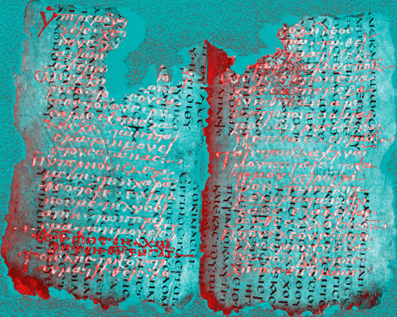 Spectral imaging reveals the hidden text on the medieval palimpsests. Copyright St Catherine's monastery of the Sinai. Used with permission