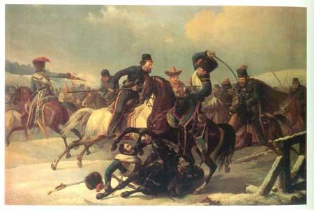 Преследование казаками отступающих французов
