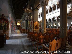 The Church of Saint Demetrius in Thessaloniki Greece: The interior of the Church of Saint Demetrius, the patron saint of Thessaloniki Greece.