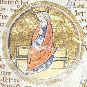 Альфред Великий. Миниатюра из генеалогического манускрипта XIII века