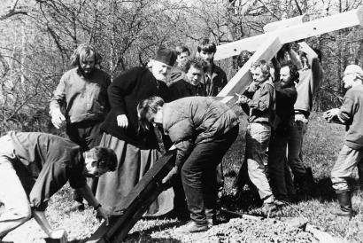 Установка креста на Бутовском полигоне