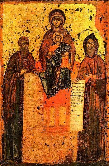 Свенская-Печерская икона Божией Матери с предстоящими Антонием и Феодосием Печерскими