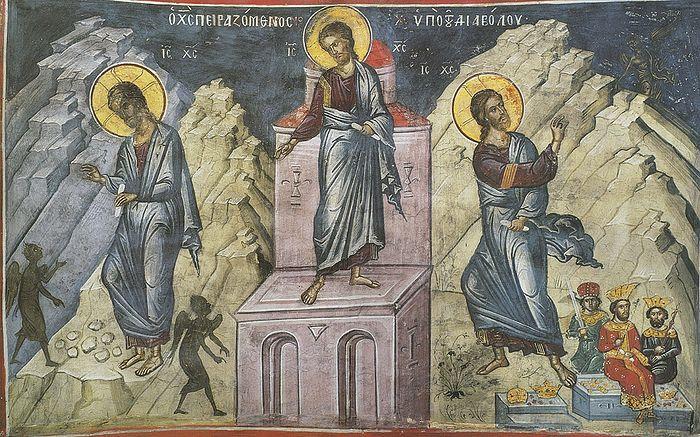 Искушения Христа в пустыне. Фреска афонского монастыря Дионисиат.