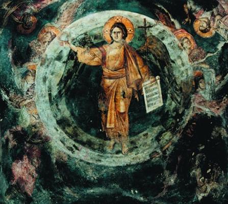 Ангел Великого Совета Иисус Христос. Фреска ц. Богородицы Перивлепты в Охриде (Македония). 1295 г.