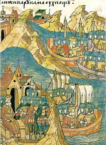 Миниатюра из «Жития Александра Невского», входящего в Лицевой летописный свод (XVI век). Морской поход шведов на Русь