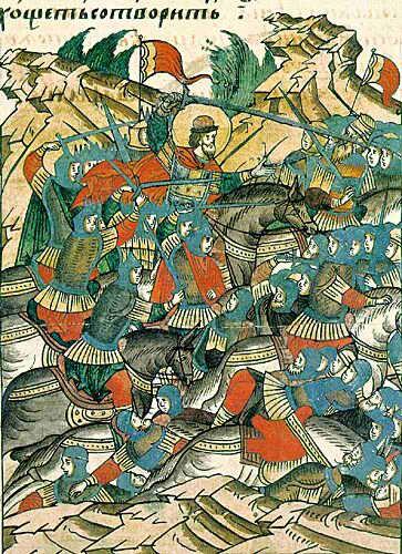 Миниатюра из «Жития Александра Невского», входящего в Лицевой летописный свод (XVI век). Невская битва