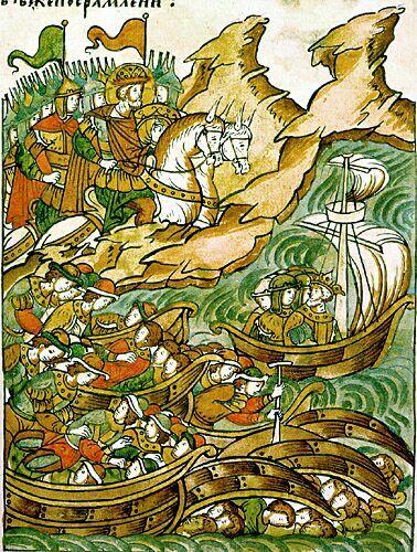Миниатюра из «Жития Александра Невского», входящего в Лицевой летописный свод (XVI век). Невская битва. Бегство шведов на корабли