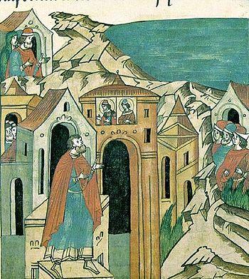Миниатюра из «Жития Александра Невского», входящего в Лицевой летописный свод (XVI век). Пелгусий Ижерянин молится святым Борису и Глебу