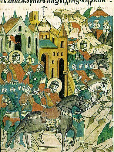 Миниатюра из «Жития Александра Невского», входящего в Лицевой летописный свод (XVI век). Александр Невский выступает в поход на шведов