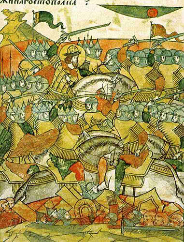 Миниатюра из «Жития Александра Невского», входящего в Лицевой летописный свод (XVI век). Ледовое побоище.