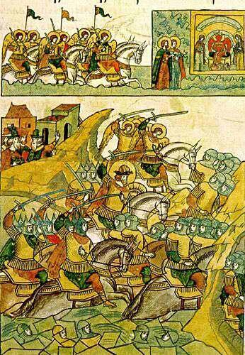 Миниатюра из «Жития Александра Невского», входящего в Лицевой летописный свод (XVI век). Бегство немцев. Видение небесного воинства.