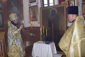 Освящение иконы в Сендайском кафедральном соборе епископом Серафимом 14 июня 2009 года