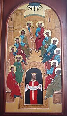 Икона «Сошествие Святого Духа на апостолов» из храма в Токусима. Работа современной иконописицы Евгении Сираиси