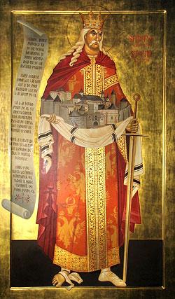 Святой Стефан чел Маре – основатель обители (икона находится рядом с могилой святого внутри собора)