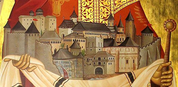 Монастырь Путна в руках ее основателя – святого Стефана чел Маре. Фрагмент иконы св. Стефана