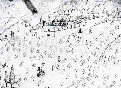 Монастырь св. Иоанна Златоуста. Рисунок Василия Григоровича-Барского. XVIII век.