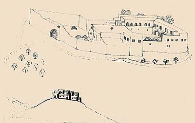 Монастырь св.Иоанна Лампадиста. Рисунок Василия Григоровича-Барского. XVIII век.