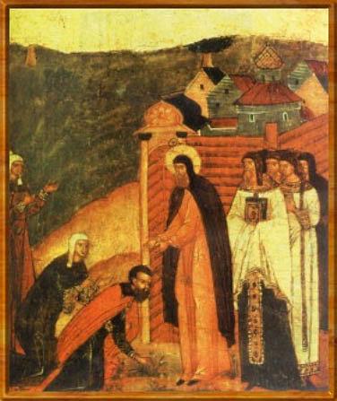 Святой Савва Крыпецкий исцеляет дочь Михаила Сабурова