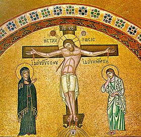 Мозаика Распятия Христова. Монастырь святого Луки (Осиос Лукас)