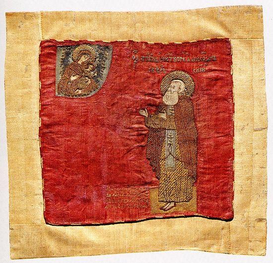 Преподобный Александр Свирский в молении перед Богоматерью