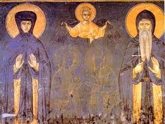 Родители свт. Саввы. Фреска монастыря Грачаница