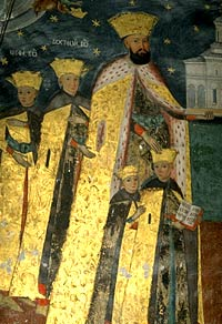 Константин Брынковяеу с сыновьями. Фреска монастыря Хурези.