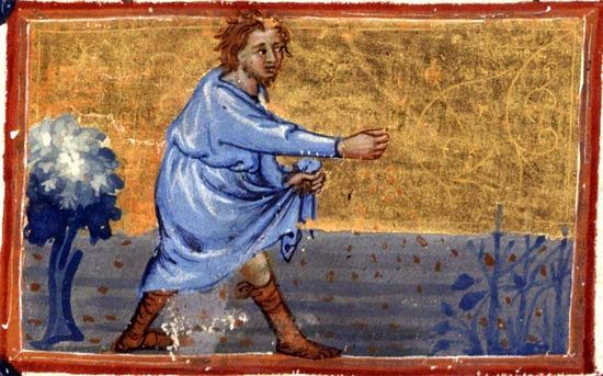 Притча о сеятеле. Средневековая рукопись.