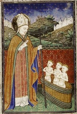 Attributed to the Fastolf Master in France, Saint Nicholas with Three Children in a Pickling Tub (MS. Auct. D. 2. 11, fol. 50v), c. 1440-1450, tempera colors and gold leaf on parchment. Bodleian Library, University of Oxford
