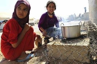 Syrian children at the Zaatari Refugee Camp