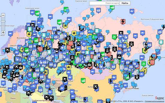 Достижения России. На карте мира отмечены места, информация о которых занесена в базу сайта sdelanounas.ru