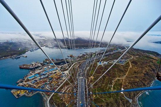 Вид с моста на остров Русский