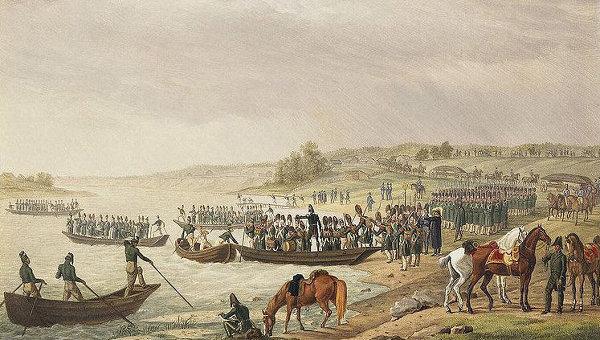 Переправа Итальянского корпуса Евгения Богарне через Неман 30 июня 1812 года. Автор: Адам