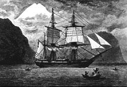 Корабль «Бигль», на котором путешествовал Ч. Дарвин