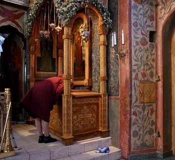 The reliquary of Holy Hieromartyr Hilarion (Troitsky), Sretensky Monastery, Moscow (