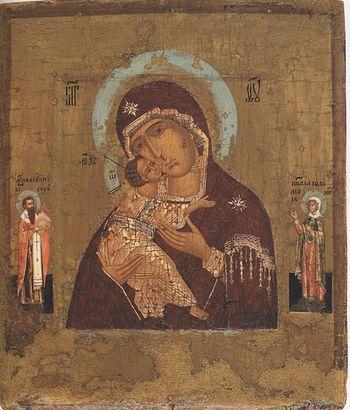 Богоматерь Владимирская с Василием Великим и Соломонией