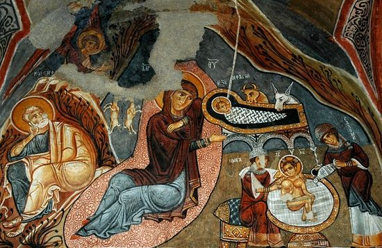 Рождество Христово, фреска. Каппадокия
