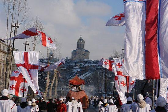 Тбилиси, Грузия. Алилооба, крестный ход в праздник Рождества Христова