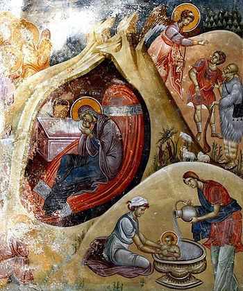 The Nativity of Christ. Fresco, Studenica Monastery, Serbia.