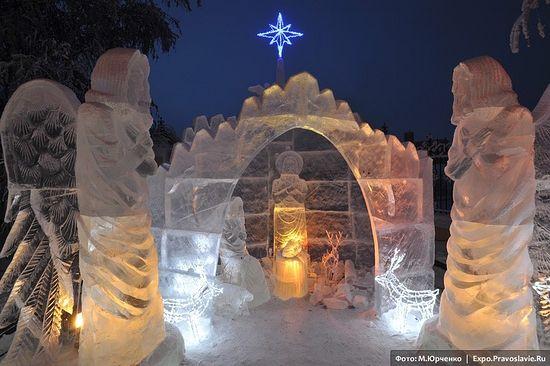 Вертеп изо льда. Фото: М.Юрченко / Expo.Pravoslavie.Ru