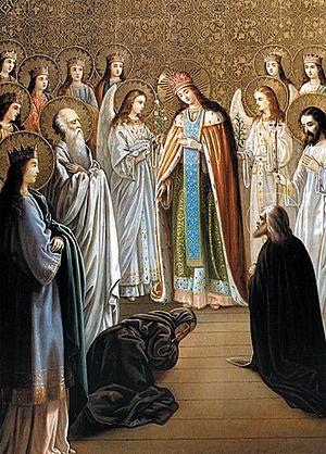 Последнее, 12-е явление Божией Матери преподобному Серафиму Саровскому с двенадцатью девами, Иоанном Предтечей, Крестителем Господним и апостолом Иоанном Богословом в день Благовещения в 1831 году. Икона иконописной мастерской Свято-Троице-Серафимо-Дивеевского монастыря. XIX век