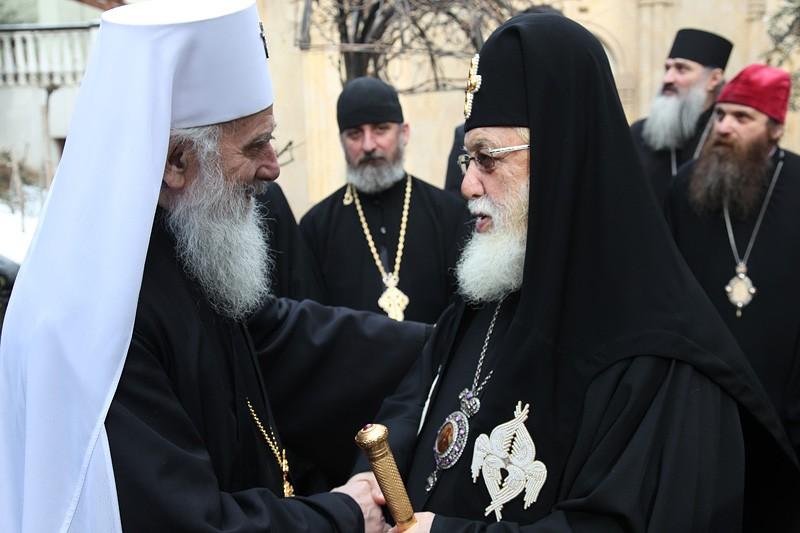 Встреча двух Патриархов — Сербского Иринея и Грузинского Илии II. Фото: Заза Мамулашвили
