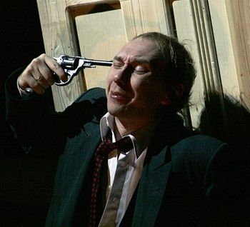 "Сцена из спектакля ""Самоубийца""."
