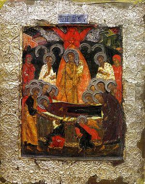Успение - Иван Михайлович Годунов сей образ придал по матери своей по инокине Марфе - вложена в Ипатий в 1567.