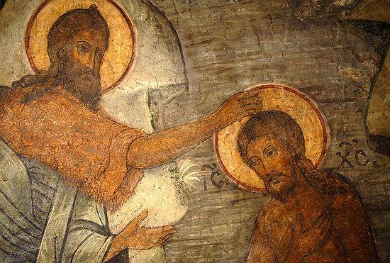 Крещение Господне. Деталь фрески. Сретенский монастырь в Москве.